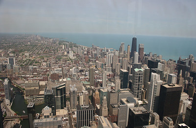 What a view!  Notice the Chicago river (bottom left). John Hancock Building is the tall black one (top right).