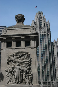 Bridge monument and Tribune Tower (as in the Chicago Tribune).