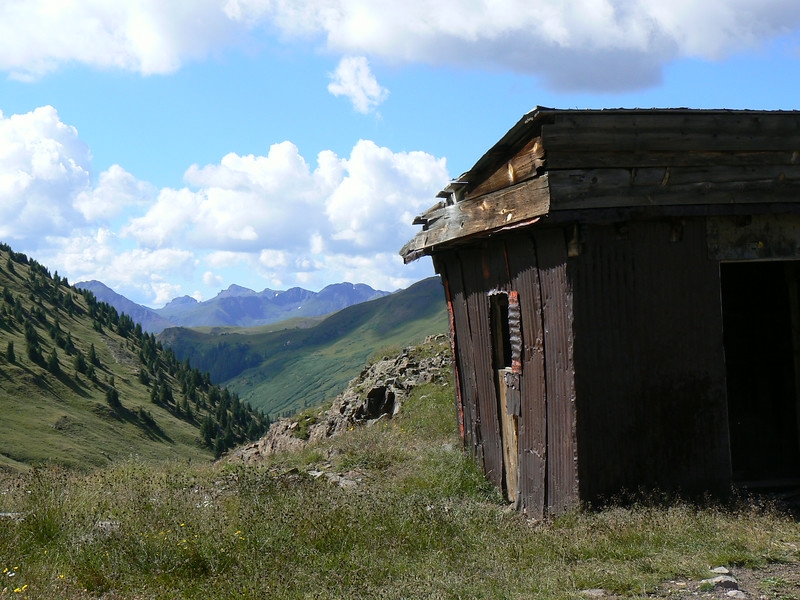 An abandoned shack with a mountain view in Colorado.