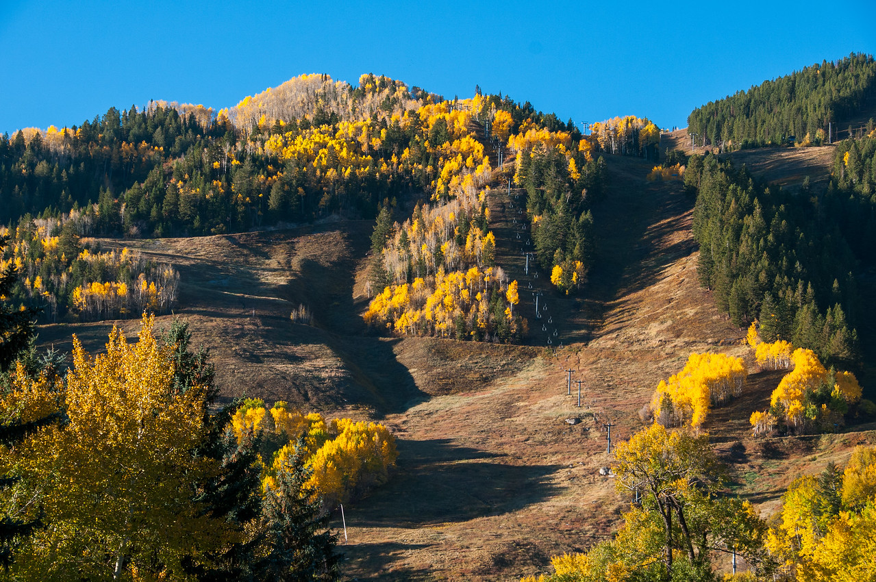 Ski lifts during autumn in Aspen, Colorado