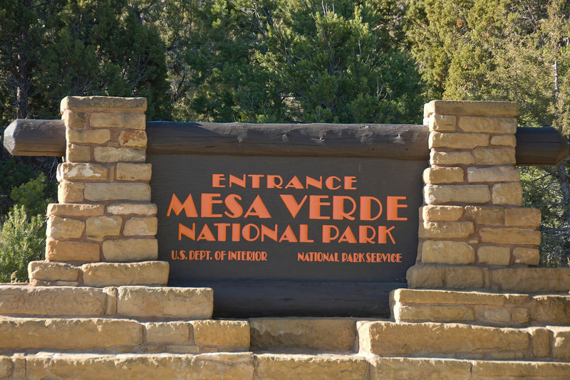 Entrance signage to Mesa Verde National Park, Colorado