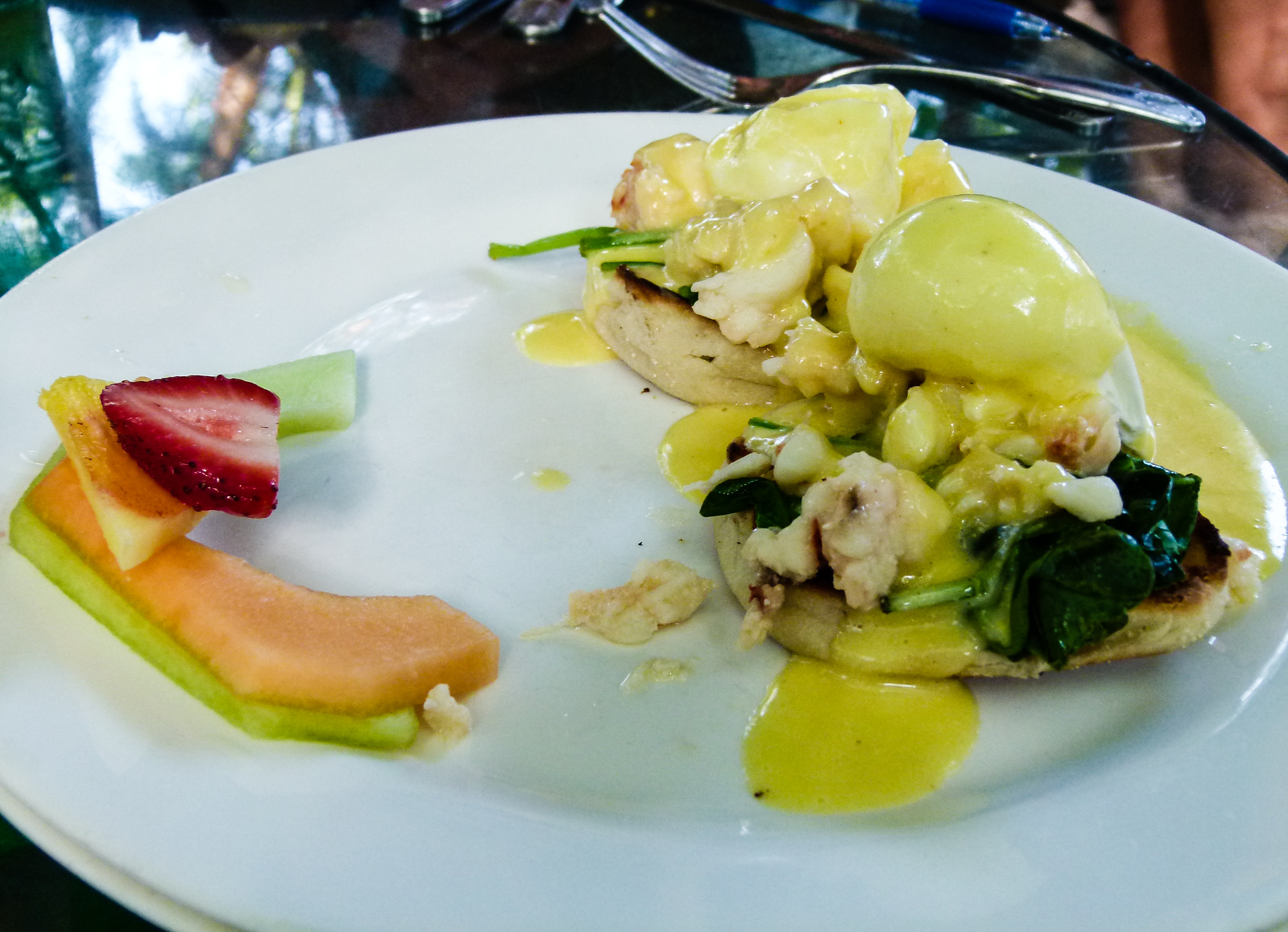 Lobster Benedict from Blue Heaven is a tasty way to start out the day in Key West, Florida.