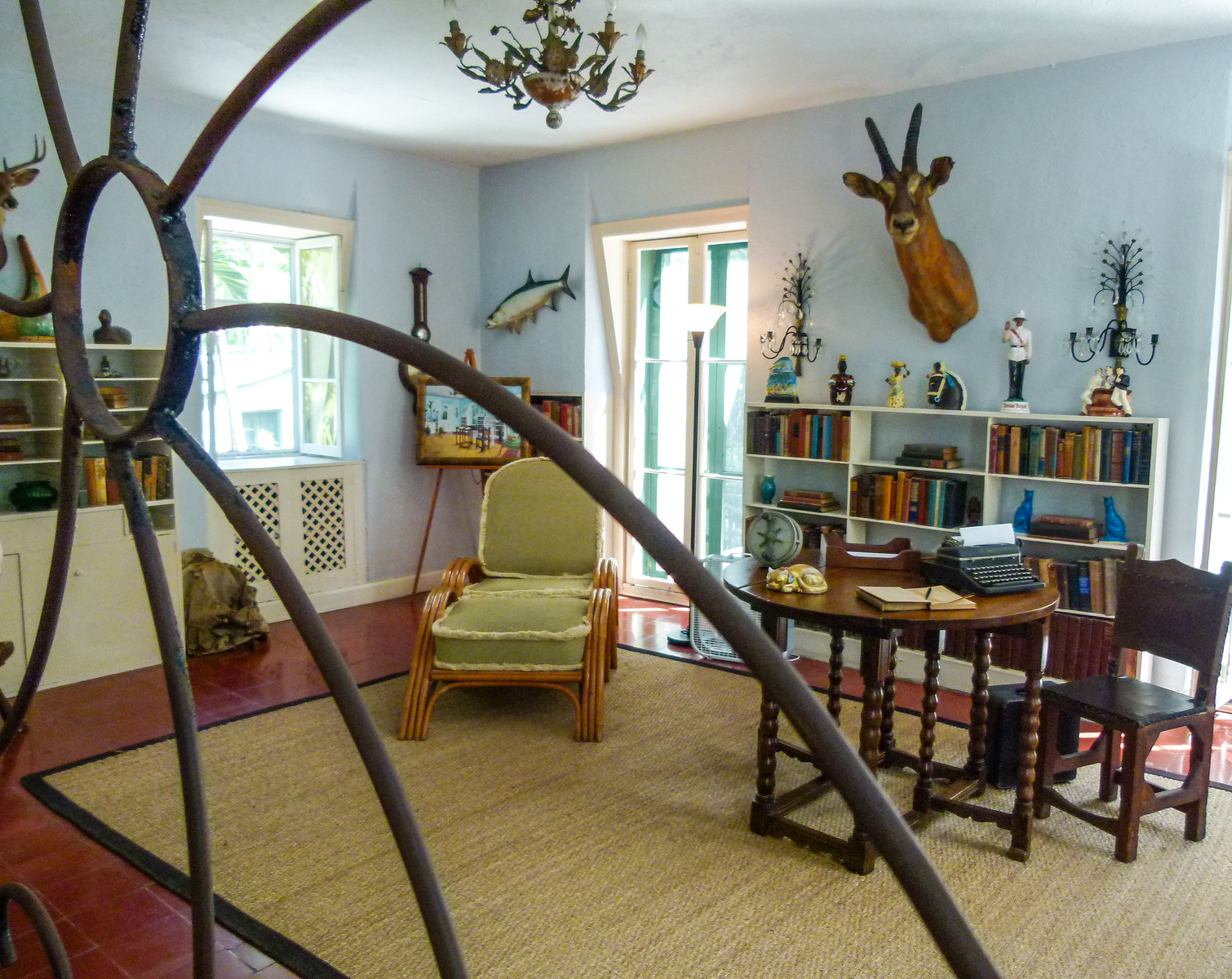 You'll see Ernest Hemingway's office on a guided tour at the Hemingway Home and Museum in Key West, Flordia.