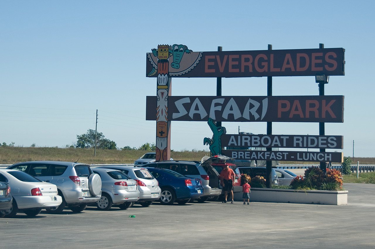 Parking area of Everglades National Park in Florida
