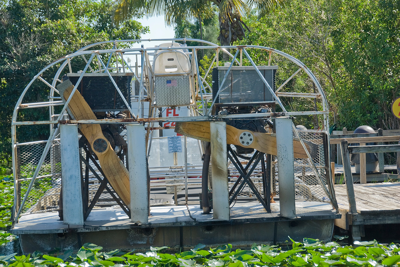 Air boat at the end of Observation Trail in Everglades National Park, Florida