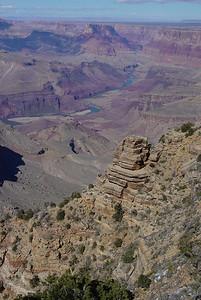The Colorado River winding through the Grand Canyon