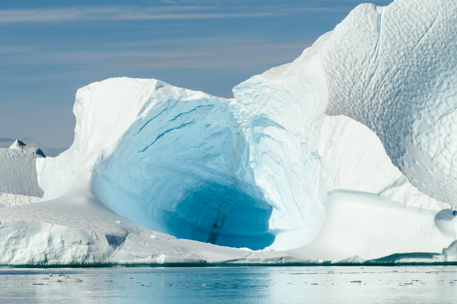 An ice cave at the iceberg graveyard at Red Island, Greenland.