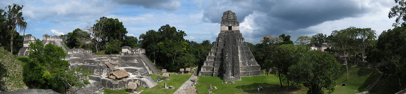 Tikal is the largest of the ancient ruined cities of the Maya civilization.  It was discovered in 1848. Though monumental architecture at the site dates to the 4th century BC, Tikal reached its height  during the Classic Period, ca. 200 AD to 900 AD. This area is called the Gran Plaza.
