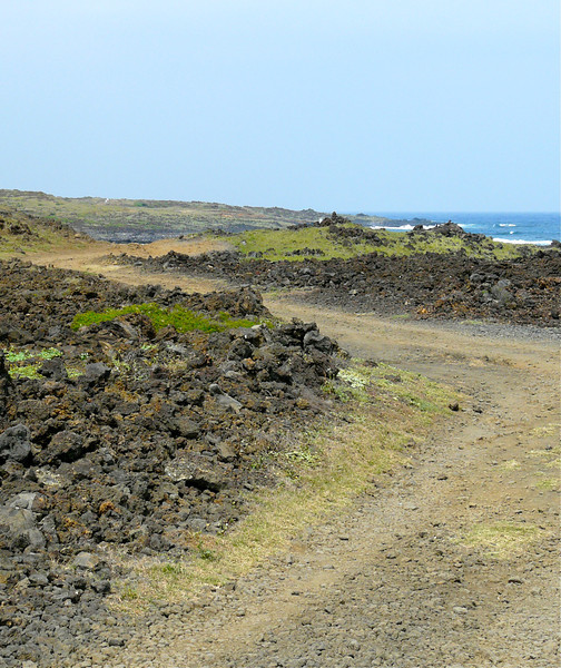 Road to the green sand beach on Hawaii