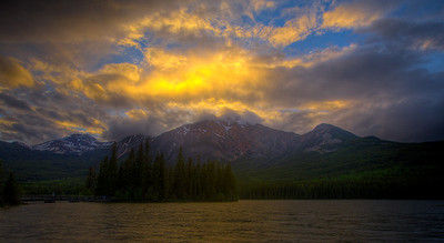 Sunset over Pyramid Mountain, Canadian Rockies