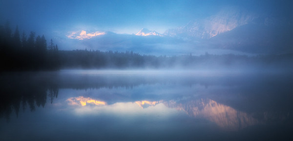 Trident Range at sunrise over Pyramid Lake, Canadian Rockies