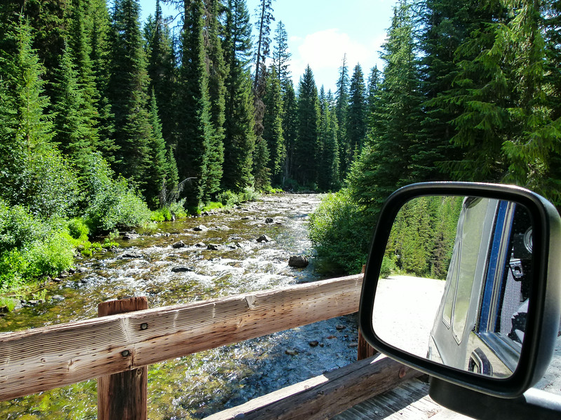 Crossing a creek on Elk Meadows Road in Lolo National Forest