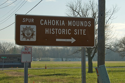 Road sign to Cahokia Mounds State Historic Site in Illinois, USA