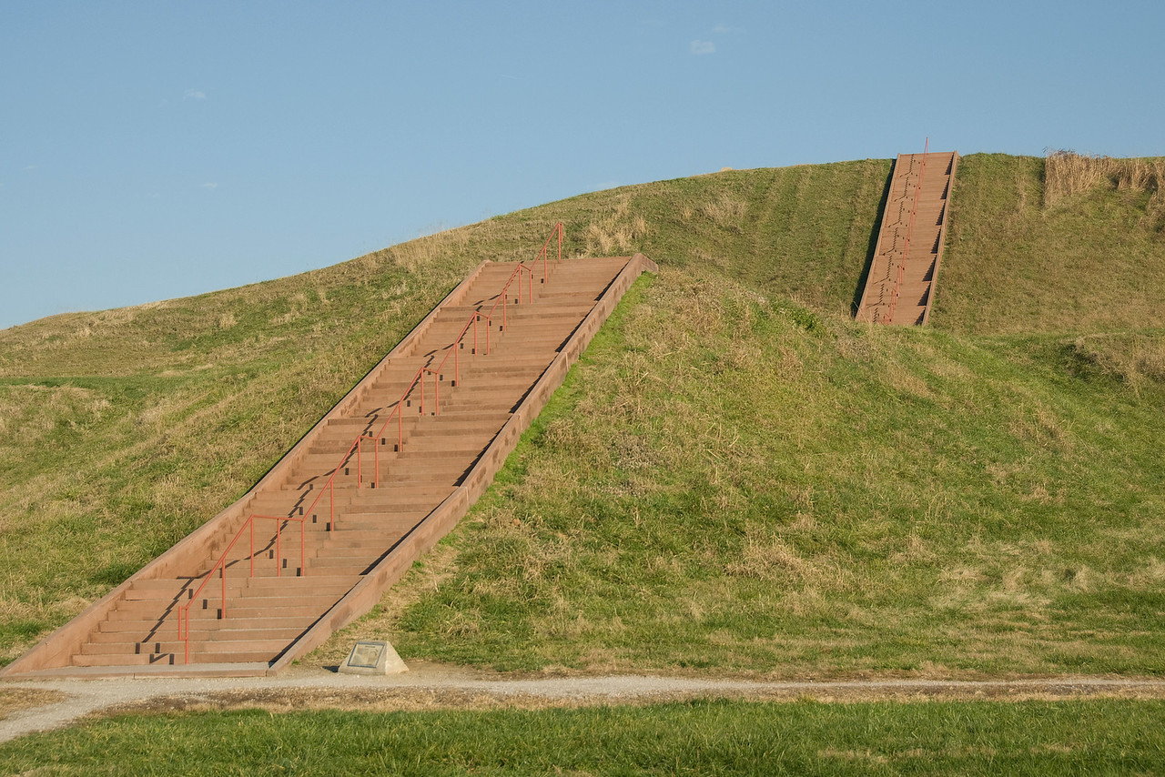 Close-up shot of Monks Mound in Cahokia, Illinois, USA