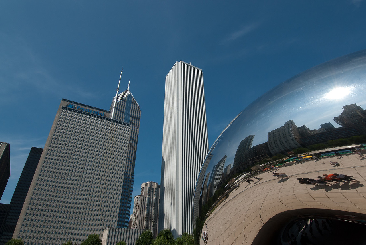 High rise buildings near The Bean in Chicago, Illinois