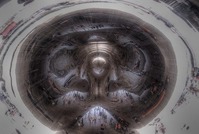 Looking up from under the Bean in Chicago, Illinois