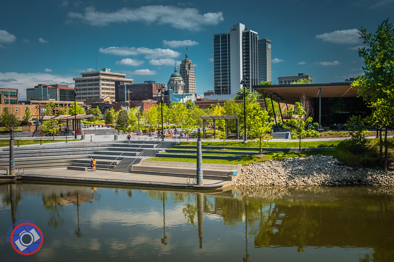 Drone View of the River Front in Fort Wayne, IN (©simon@myeclecticimages.com)