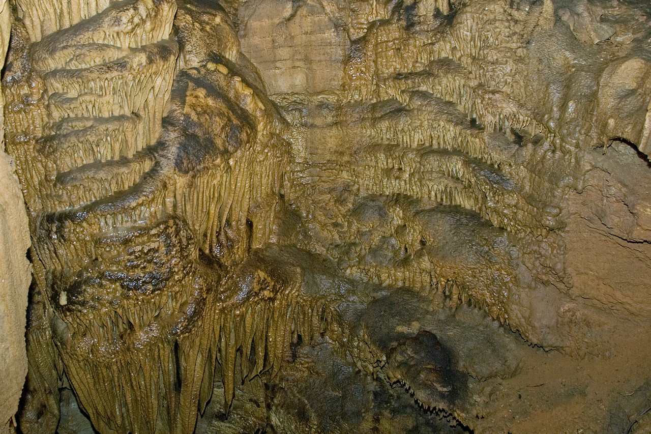 Rock formations inside Mammoth Cave National Park in Kentucky
