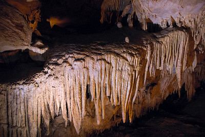 Stalactites and stalagmites inside Mammoth Cave in Kentucky