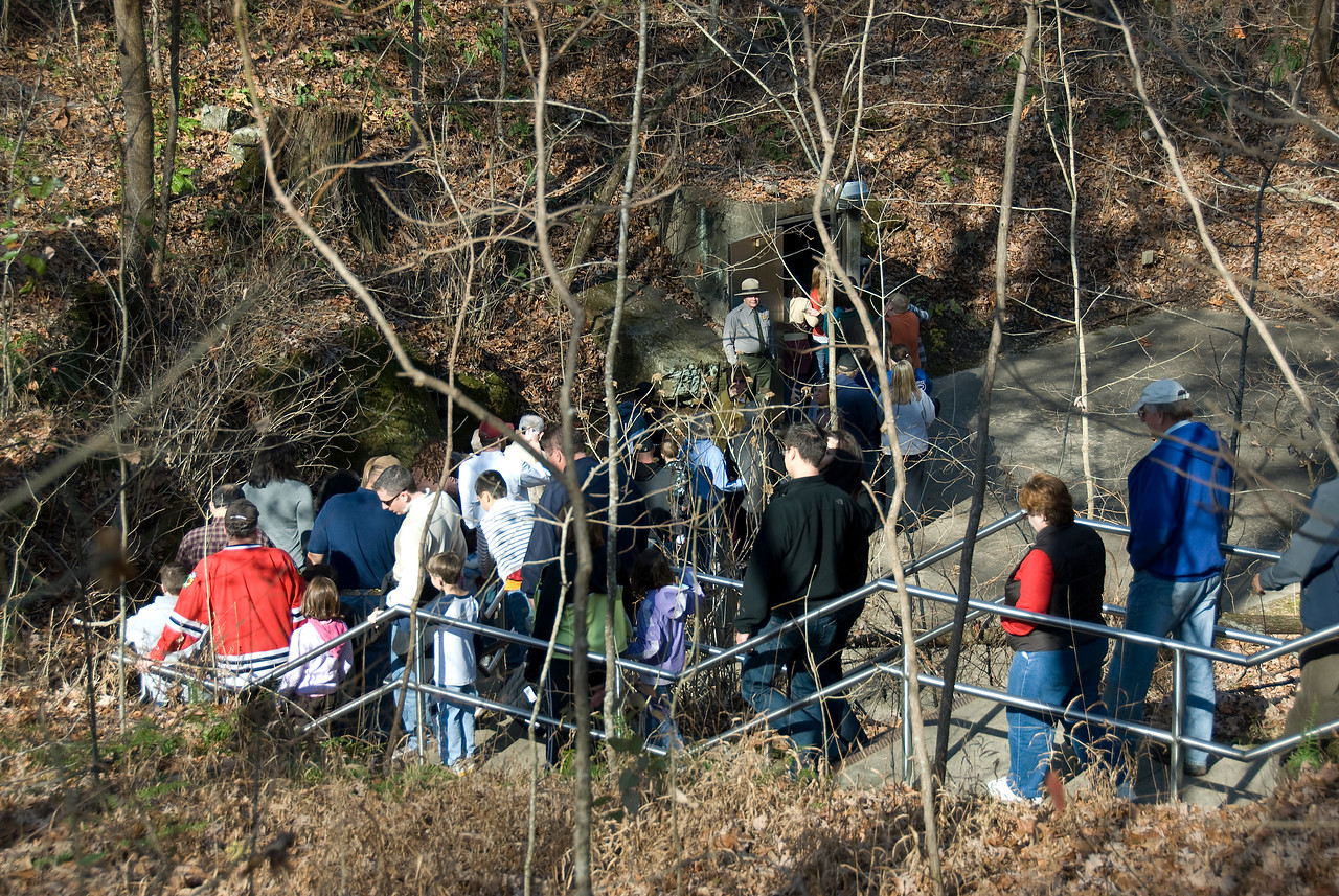 Tourists entering Mammoth Cave National Park in Kentucky