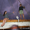 There are girls in the rigging!