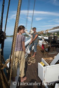 Becky ready to drop anchor while Sally stands by