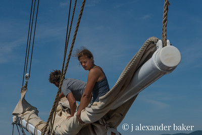 Furling the headsails - Becky & Zach