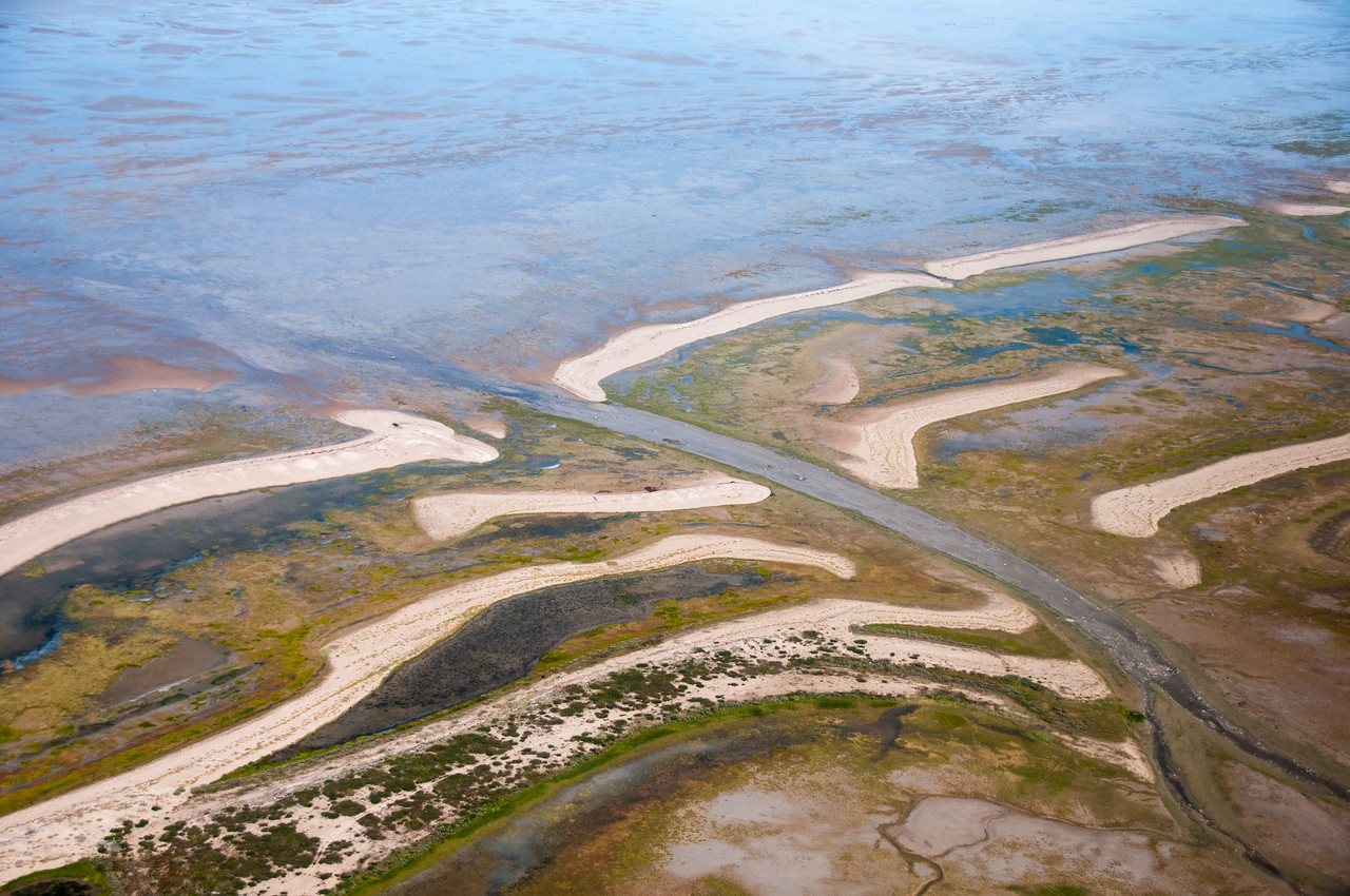 Aerial view of Hudson Bay in Manitoba, Canada