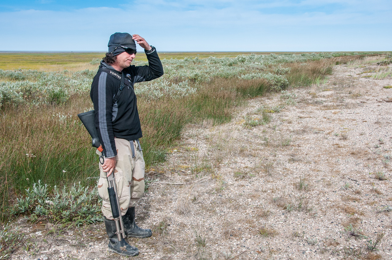 Tourist guide near Hudson Bay in Manitoba, Canada