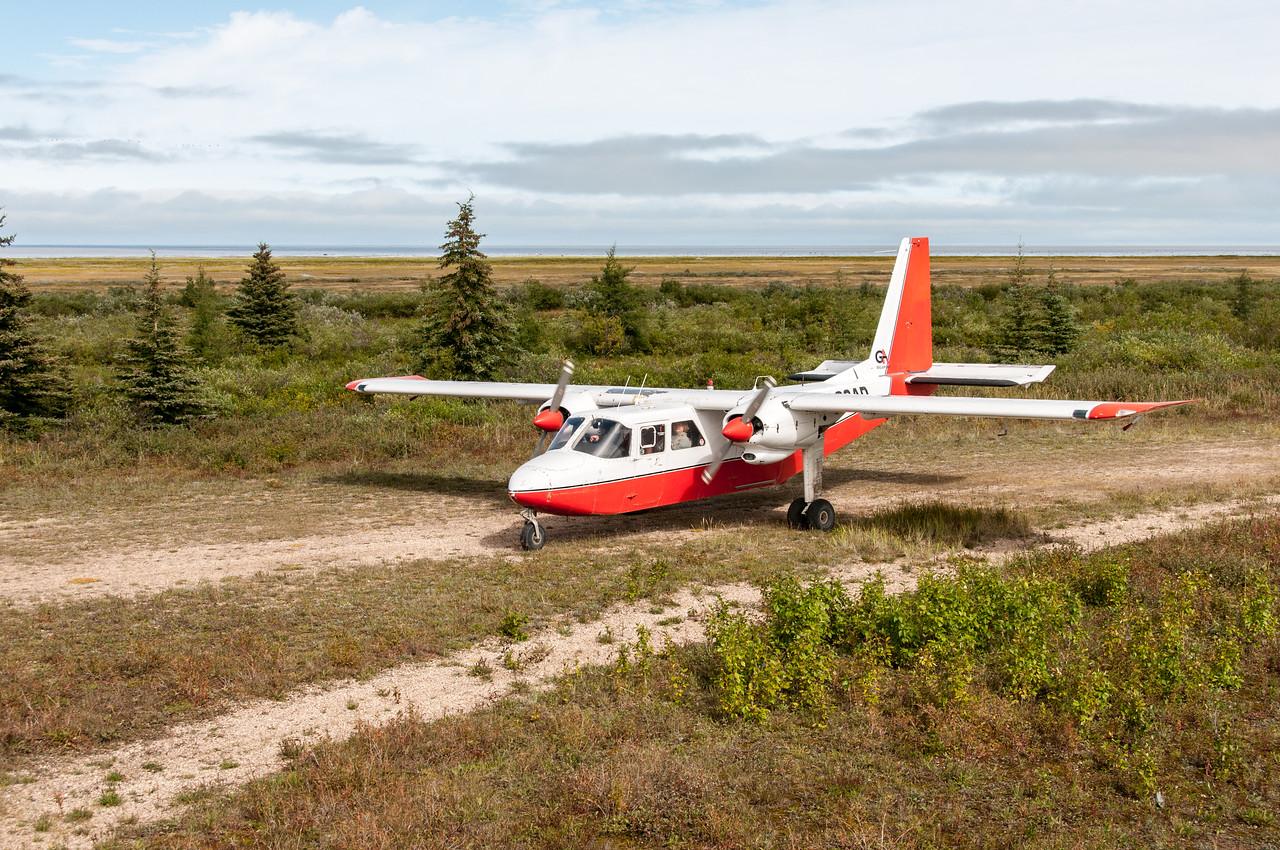 Jet plane landing into Manitoba, Canada