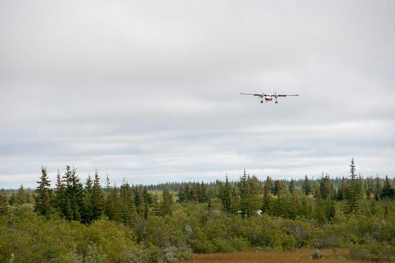Jet plane flying into Manitoba, Canada