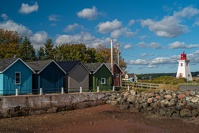 dockside sheds & Victoria Seaport Lighthouse