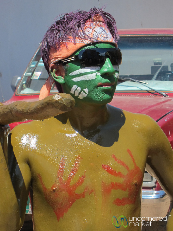 Painted Face and Body for Carnaval - San Martin Tilcajete, Mexico