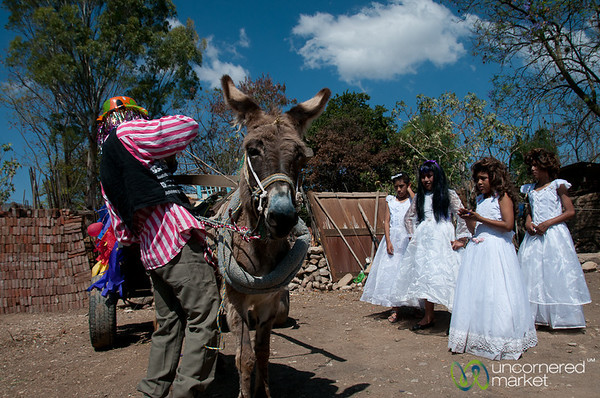 Donkey, Clown and Bridesmaids for Mardi Gras - San Martin Tilcajete, Mexico