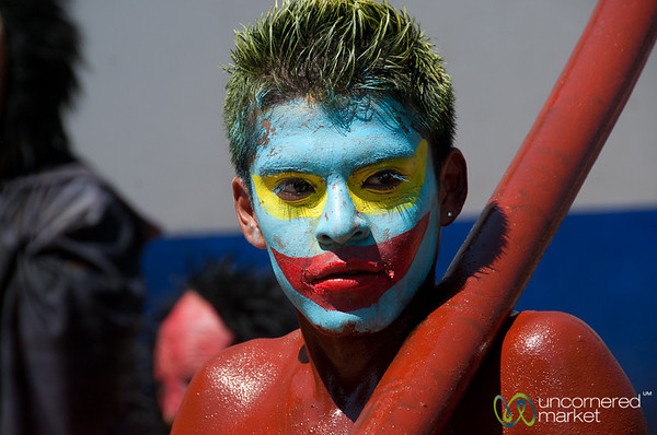 Painted Face for Carnaval in San Martin Tilcajete, Mexico