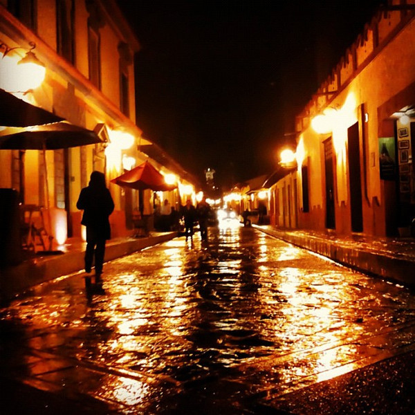 Street on fire, rainy night in San Cristobal #Chiapas #Mexico