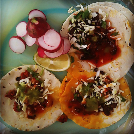 This plate of 3 tacos for $0.50 - San Cristobal #Chiapas #Mexico #streetfood