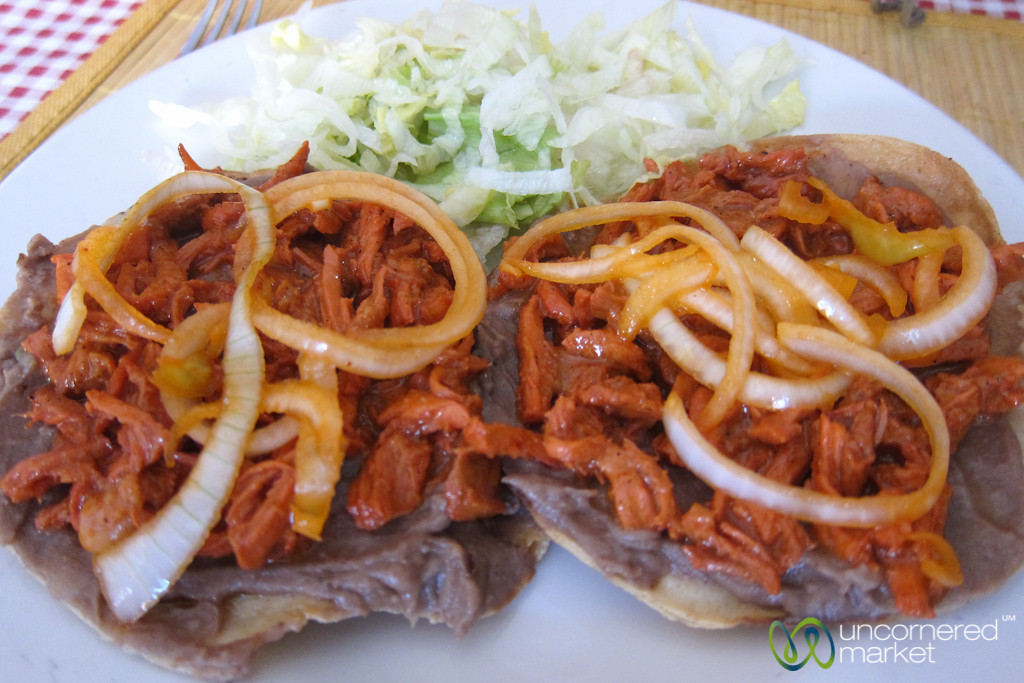 Tostada Covered with Beans & Meat - San Cristobal de las Casas, Mexico