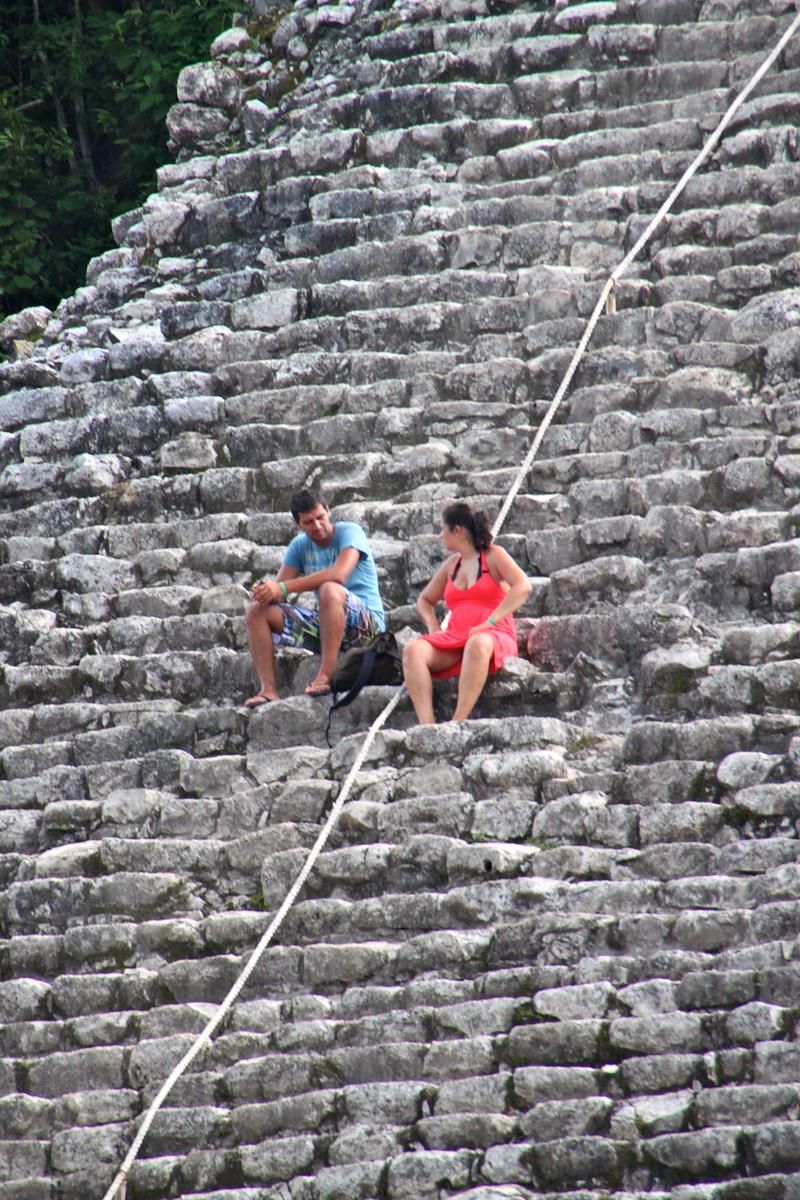 Taking a Break from Climbing a Pyramid - Coba, Mexico - Photo