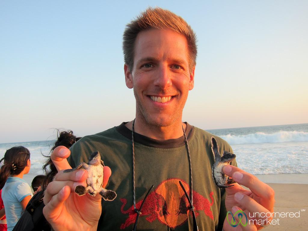 Dan with our Baby Turtles - Playa La Ventanilla, Mexico
