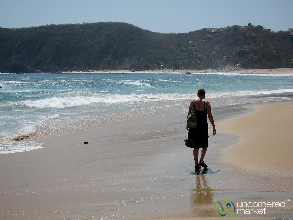 Audrey Walking Along Mazunte Beach - Pacific Coast, Mexico