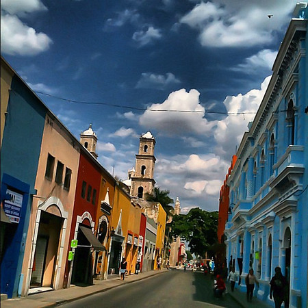 Puffy clouds, candy buildings - Merida #Yucatan #Mexico