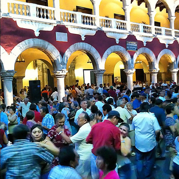 Sunday salsa and cumbia on the main plaza, #Merida #Yucatan #Mexico