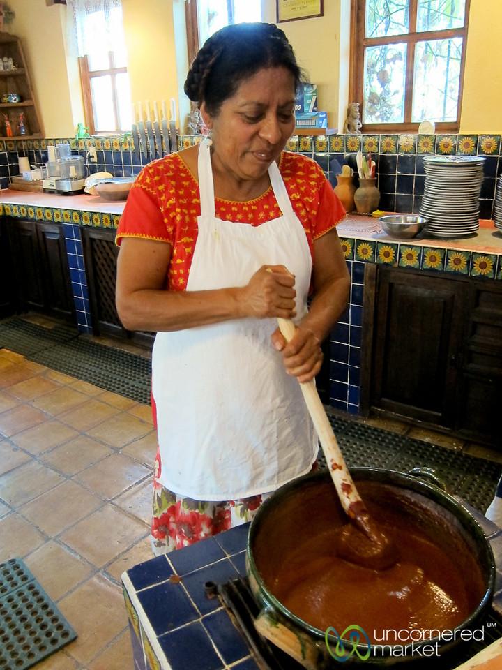 Stirring Mole Coloradito at Cooking Class - Oaxaca, Mexico