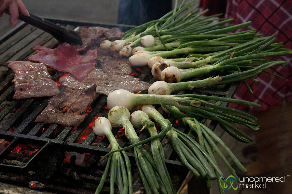 Green Onions and Meat on Grill - Tlacolula, Mexico
