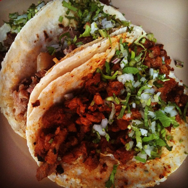 Taco feast at Sunday market in Ixcotel. Delicious pork & beef fillings, 3 for $1.75. #oaxaca #mexico