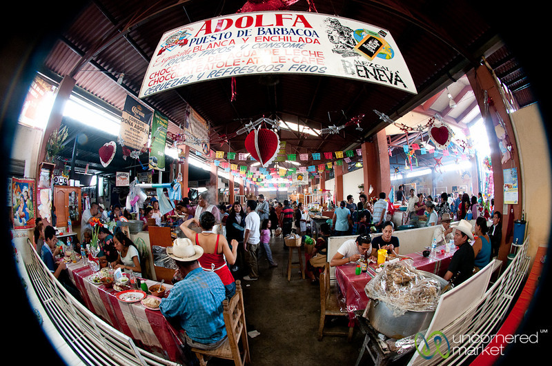 Fisheye View of Goat Soup Aisle - Tlacolula Market, Mexico