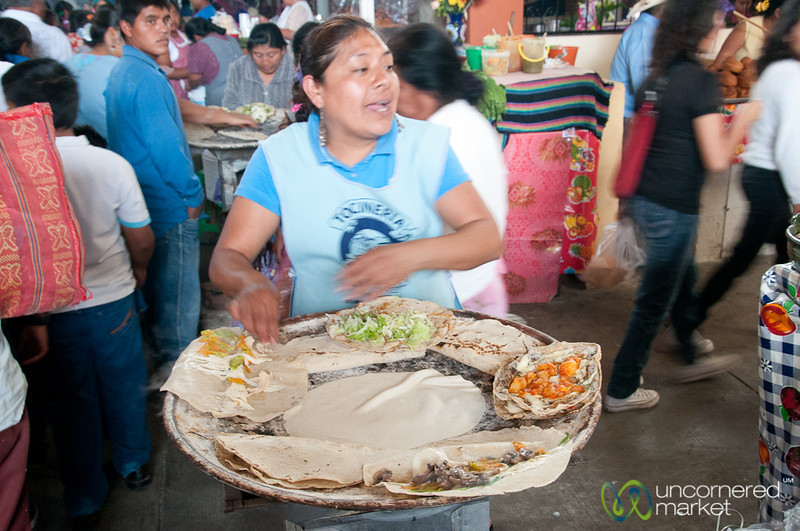 Working the Comal at Tlacolula Market - Oaxaca, Mexico