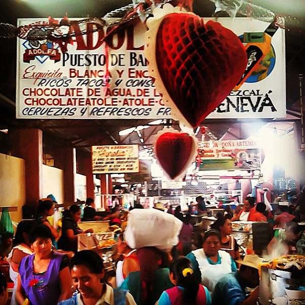 Prepping for Valentine's Day in the goat soup aisle, Tlacolula #Oaxaca #mexico