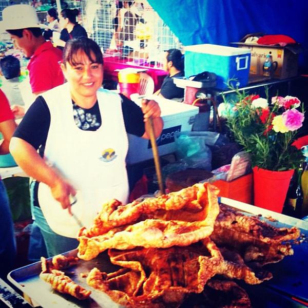 Fresh chicharron (pork rinds) at the market. #oaxaca #mexico